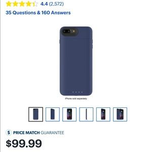 Navy Blue Mophie Charging Case iPhone 7/8 Plus